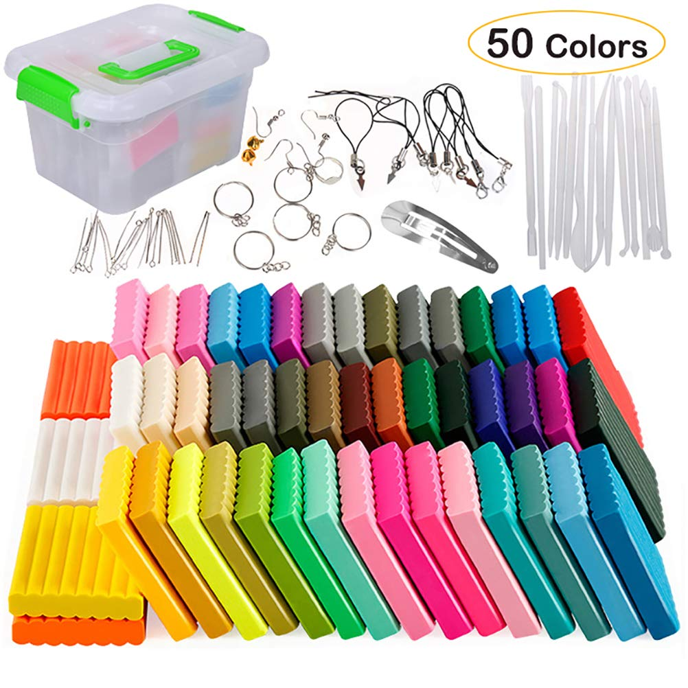 Polymer Clay 50 Colors Oven Bake Clay Art DIY Colored Clay Kit With Modeling Tools And Accessories Non-toxic Gifts For Kids