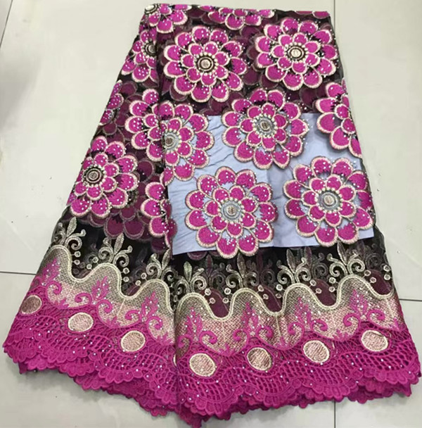 Hot sale 5yards embroidered african french lace fabric with stone african lace fabric for dress african