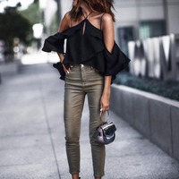 New 2017 Early Autumn Women sexy Blouses off shoulder Girl elegant Shirt chiffon halter blouse Casual Top Shirts YZX15