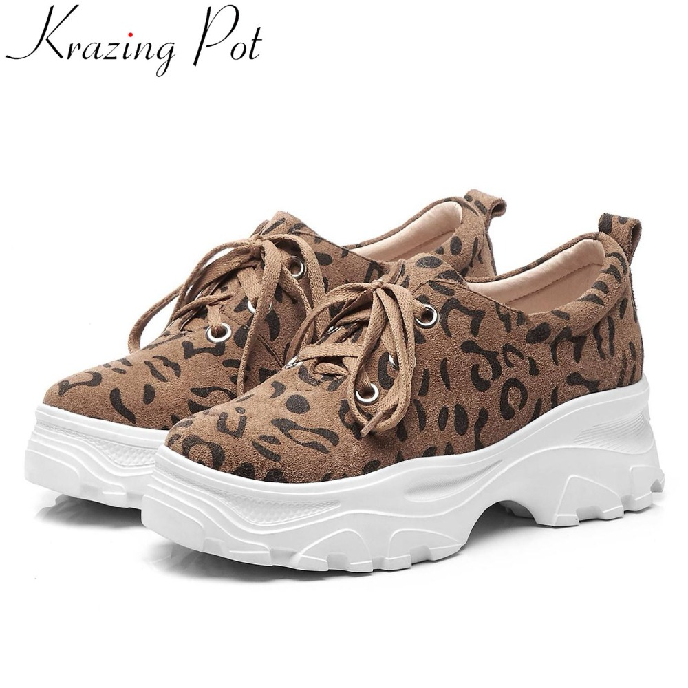 2019 fashion classic leopard genuine leather lace up sneakers thick bottom ventilated casual wear brand vulcanized