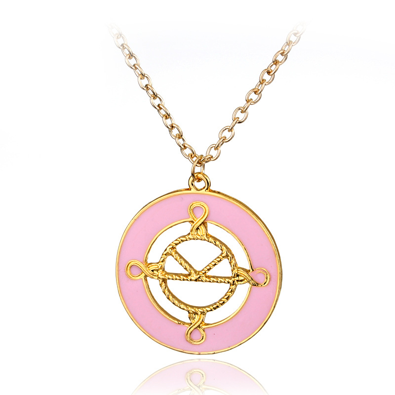 Movie Around Kingsman The Golden Circle Secret Service Eggsy Logo Pink Pendant Necklace Cosplay Jewelry