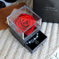 Birthday Presents Valentines Day Gift Women Rose Jewelry Box For Wedding Marry Dried Flower Real Flowers Eternal Roses In Box