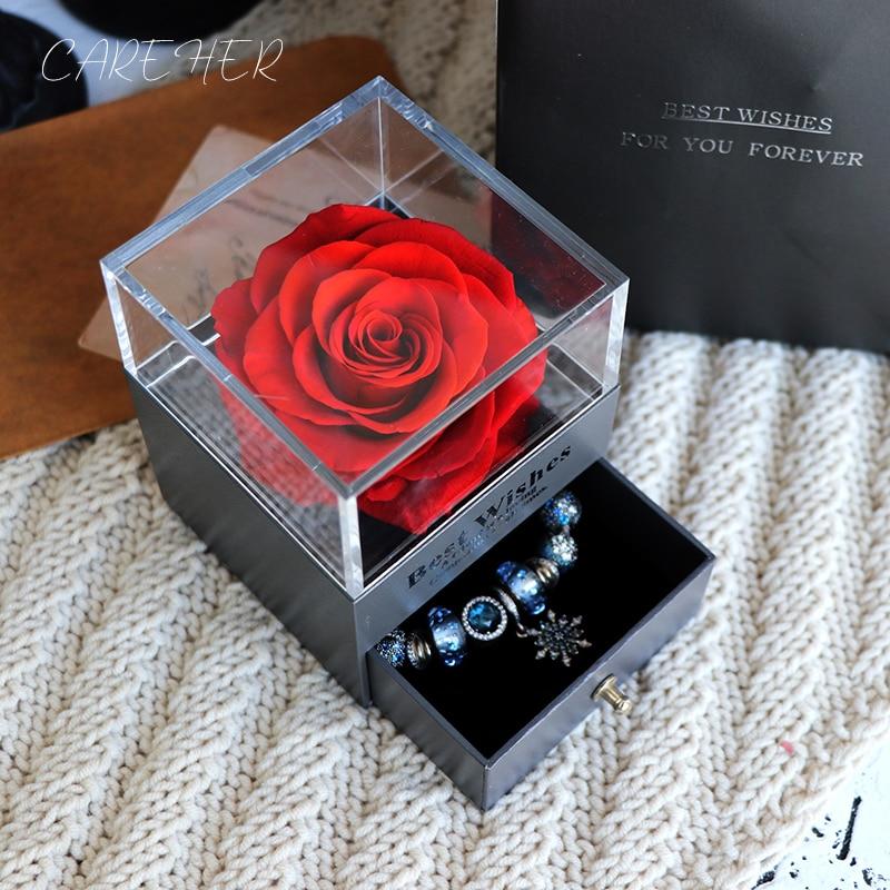Presentes de aniversário Presente do Dia Dos Namorados Mulheres Subiu Caixa de Jóias Para O Casamento Casar Com Flores Secas Flores Reais Eterno Rosas Em Caixa