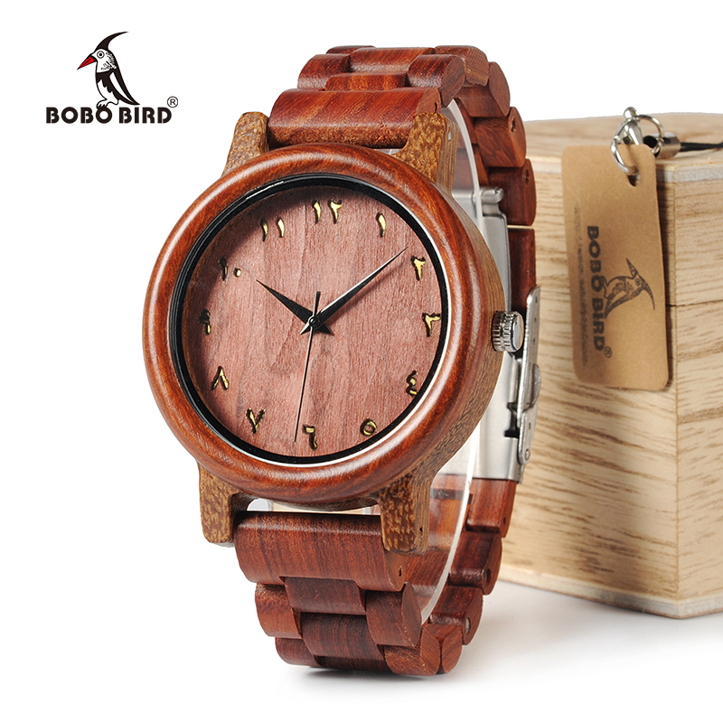 BOBO BIRD WN13 Wooden Watches Eastern Arabic Numerals Dial Face Wenge Watch Red Wood Band Accept Laser Customized Dropshipping цена