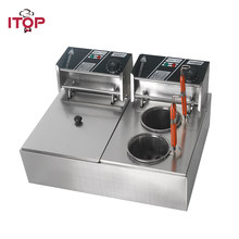 ITOP Commercial Electric Deep Fryers Double tanks Pasta Boiler & Oden cooking machine Potato Chip Chicken Fries Machine(China)