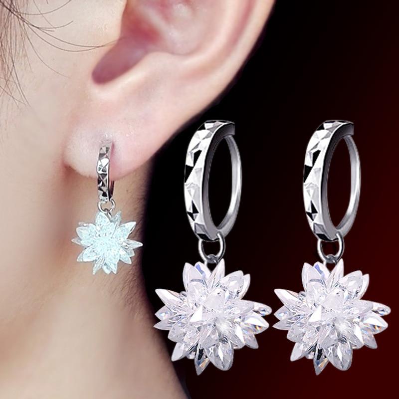 Fanqieliu Real 925 Sterling Silver Drop Earrings Female Best Festival Gift Snowflake Crystal Dangle Earrings Women FQL193212
