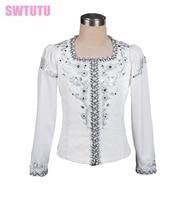 whte boy's ballet top ballet jacket for Man dance costumesmen's ballet top for competiton,ballet coat BM0005