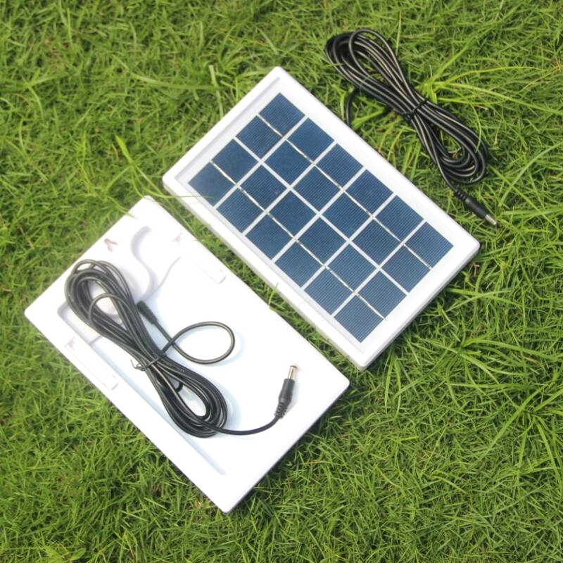 BUHESHUI 3W 6V Solar Cell Polycrystalline Solar Panel DIY Solar System For 3.7V Battery Charger <font><b>Led</b></font> Light+3M DC 5521 Cable 2PCS