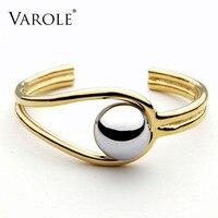 VAROLE Double Line Big Ball Cuff Bracelet Bangle For Women Manchette Gold Color Bracelets Stainless Steel Metal Bangle Pulseiras