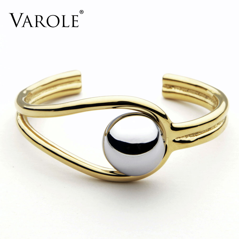 VAROLE Double Line Big Ball Cuff Bracelet Bangle For Women Manchette Gold Color Bracelets Stainless Steel Metal Bangle Pulseiras