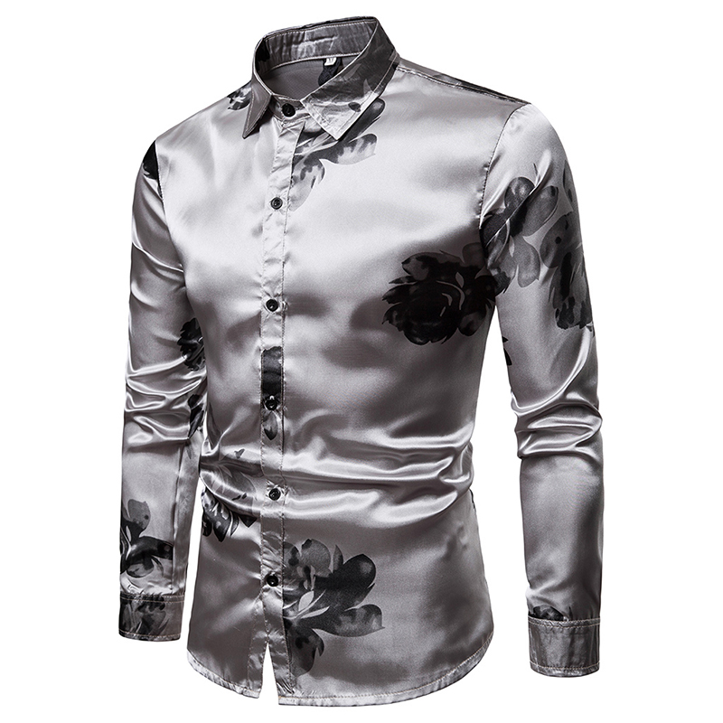a12331847ab 2019 Fashion Silver Silk Mens Dress Shirts 2019 Casual Ink Floral ...