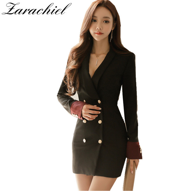 c4f11d7f09fb Women Blazer Dress 2019 Autumn Sexy Double Breasted Hit Color Female Office  Bodycon Pencil Dress Basic Vestidos Army Green Black