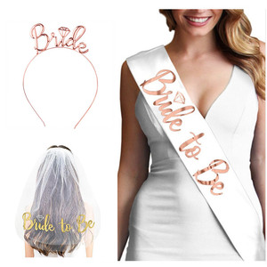 Wedding Decorations Bridal Shower Wedding Veil Team Bride To Be Satin Sash Bachelorette Party Girl Hen Party Decoration Supplies(China)