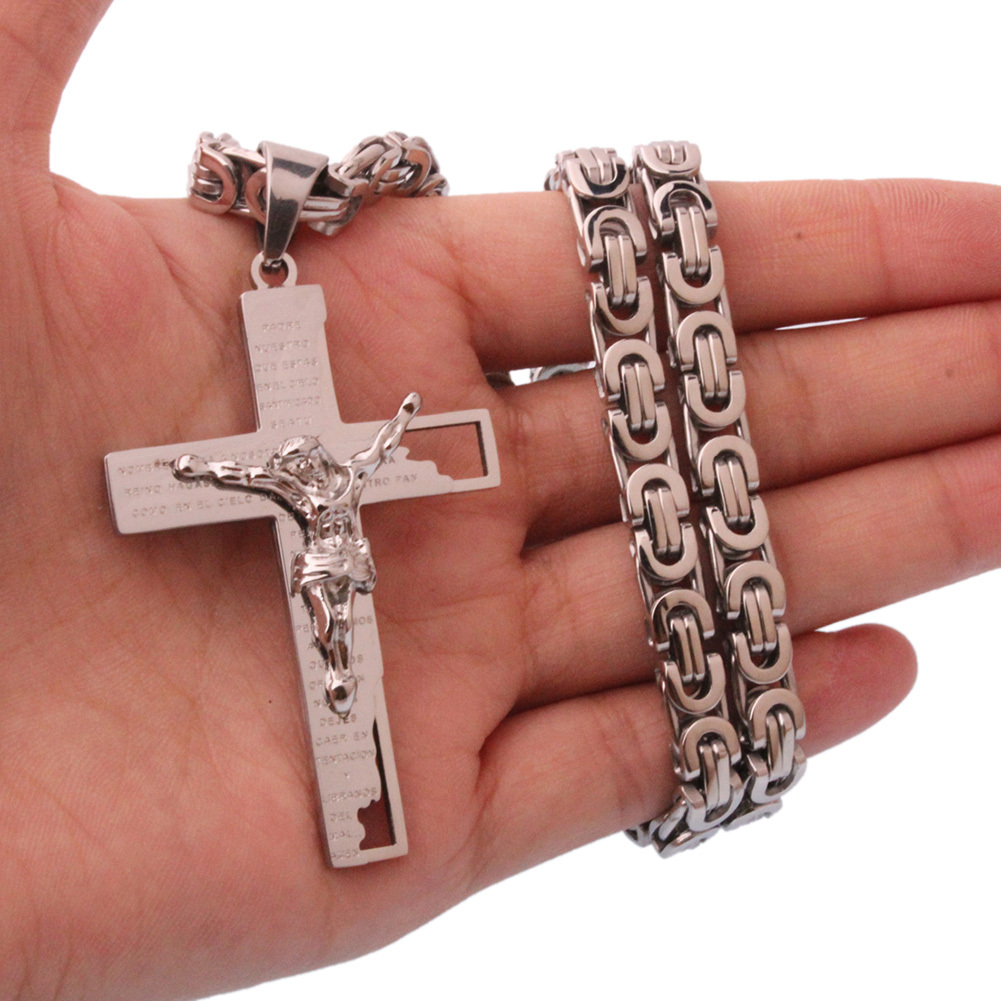 Cross Stainless Steel Self Defense Bracelet Necklace Chain Multi Tool Personal Protection Outdoor Survival Kit Drop Shipping