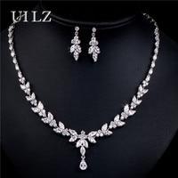 UILZ Luxury Zirconia Crystal Leaf Wedding Jewelry Sets Fashion CZ Zircon Necklace Earrings African Jewelry Sets