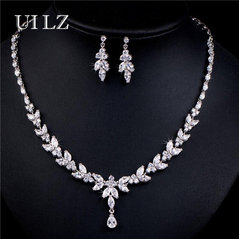 UILZ Luxury Zirconia Crystal Leaf Wedding
