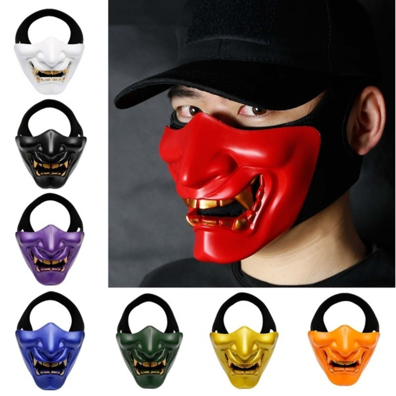 Halloween Cosplay Costume Skull Hannya Prajna Terror Tactical Half Face Mask Cover Masquerade Airsoft Wargames Protection
