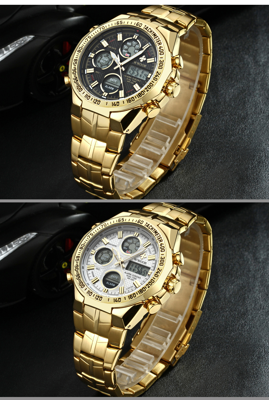 New Relogio masculino Top Luxury Gold Watch Men Big Watches Golden Stainless Steel Military Wristwatch Big Dial Clock Male (12)