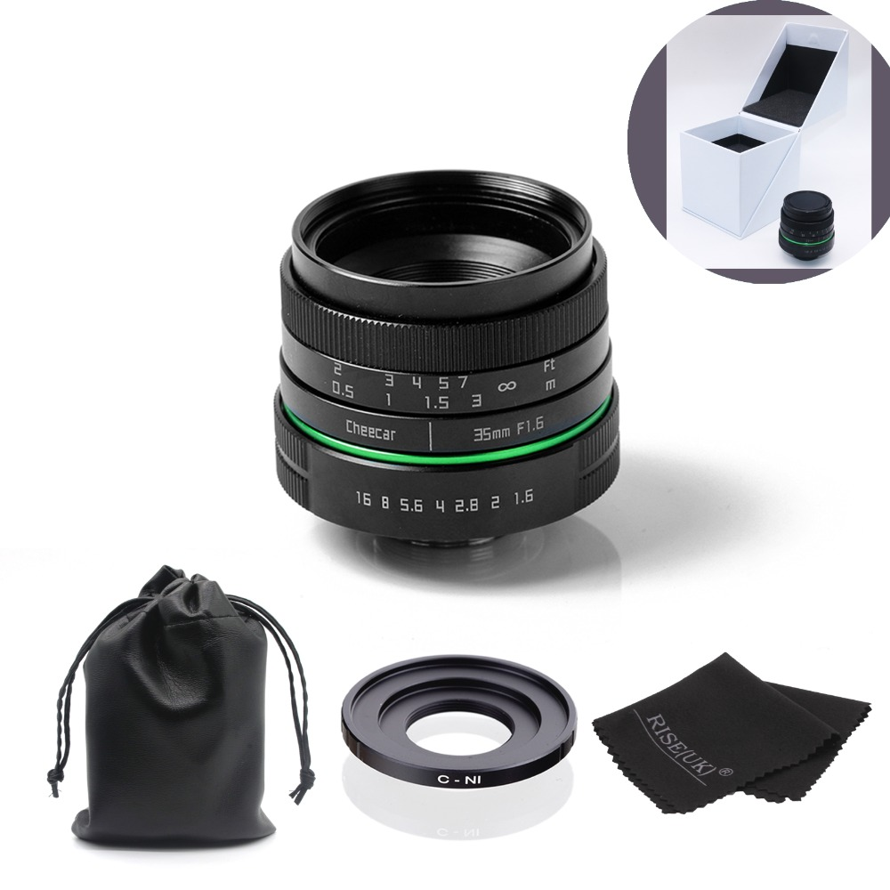 (Kits)metal 35mm APS-C camera lens +N1-mount adapter ring + lens bag + gift box for Nikon Micro-camera free shipping mirroless for aps c camera 35mm f 1 6 33mm f1 6 for micro camera free shipping