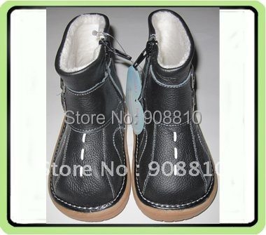 Детские ботинки из натуральной кожи черного цвета с пряжкой; Детские товары на осень; застежка-молния; мягкая подошва; розничная ; ;