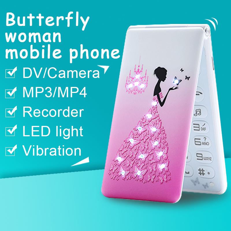 MAFAM D11 Russian Arabic French Spanish Portuguese Dual SIM mp3 mp4 breath light flower women girls