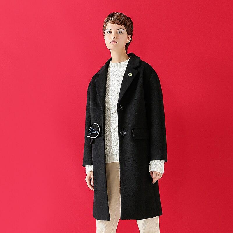 Kadın Giyim'ten Yün ve Karışımları'de Toyouth Yün Ceket 2019 Kış Kadın Mektup Nakış Tüm Maç Turn Down Yaka Uzun Palto Kadın'da  Grup 3