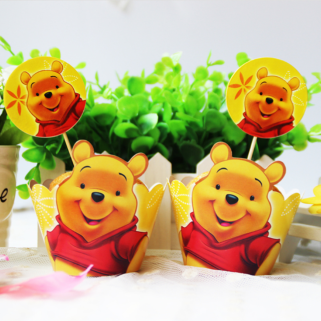 Cartoon Winnie the Pooh Paper Cupcake Wrapper Toppers 12pcs Wrappers ...