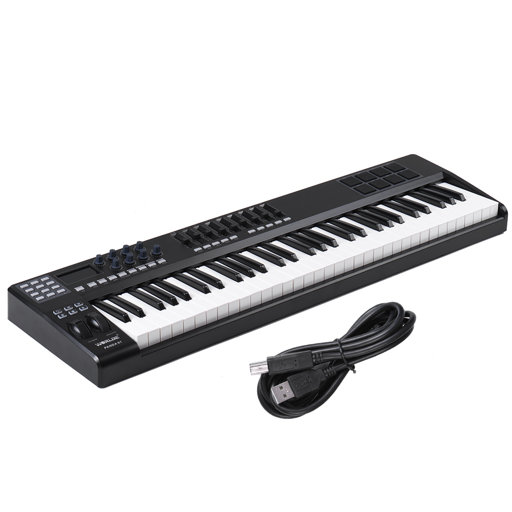 High Quality 61 Key USB MIDI Keyboard Controller 8 Drum Pads with USB Cable MIDI Controller