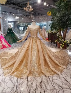 Image 2 - Gold Ball Gowns Wedding Dresses 2020 Boat Neck Lace up Pattern Chapel Train Saudi Arabia Elegant Long Sleeves Bridal Gowns