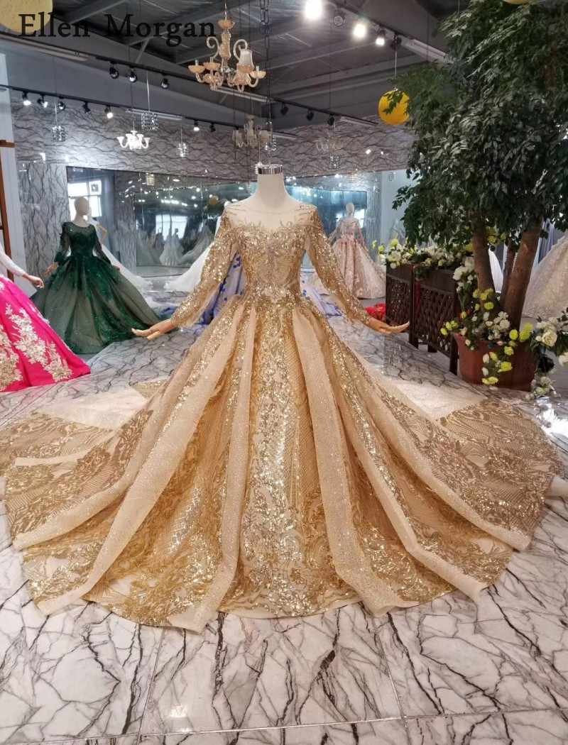 Gold Ball Gowns Wedding Dresses 9 Boat Neck Lace up Pattern Chapel Train  Saudi Arabia Elegant Long Sleeves Bridal Gowns