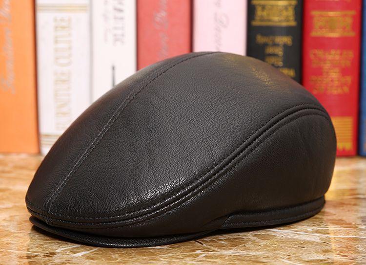men natural Sheepskin beret (4)