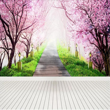Romantic cherry blossom forest stone road at the end of background wall painting covering