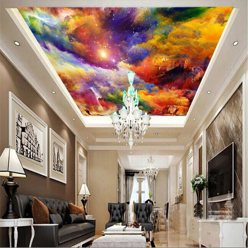 wall decor hall painting ceiling mural colorful background living 3d wallpapers beibehang aliexpress wholesale