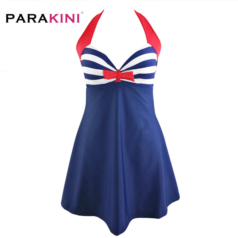 PARAKINI 2018 New Sexy Stripe Padded Halter Skirt Swimwear Women One Piece Swimsuit Beachwear Bathing Suit Dress Plus Size M-3XL 2