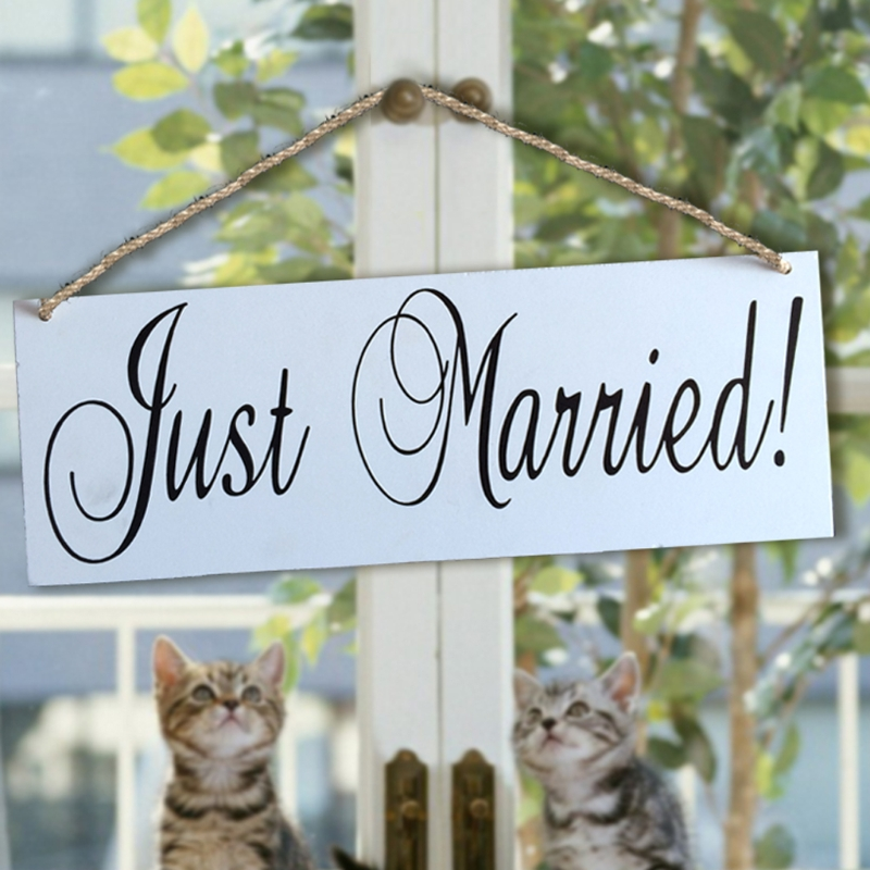 Just Married Wooden Hanging Signage Board Directional Signage Photo Prop Party Banner Bo ...