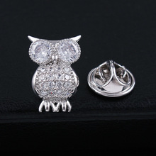 CINDY XIANG New Arrival Cubic Zirconia Owl Collar Brooches For Women And Men Fashion Animal Copper Brooch High Quality Unisex