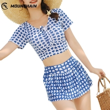 2019 Mounchain Women Bikinis Mujer Cute Sweet Style Swimsuit  Beach Suit High Waist Skirt