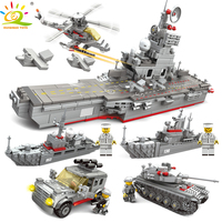 HUIQIBAO TOYS 861PCS 5in1 Aircraft Warship Carrier Building Blocks For Children Compatible Legoingly Military Truck tank Bricks