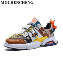 2019 Men Chunky Sneakers Lace-up Casual Shoes with Platform Tenis Footwear Retro Style Mixed Color Breathable Anti-skid Design недорго, оригинальная цена