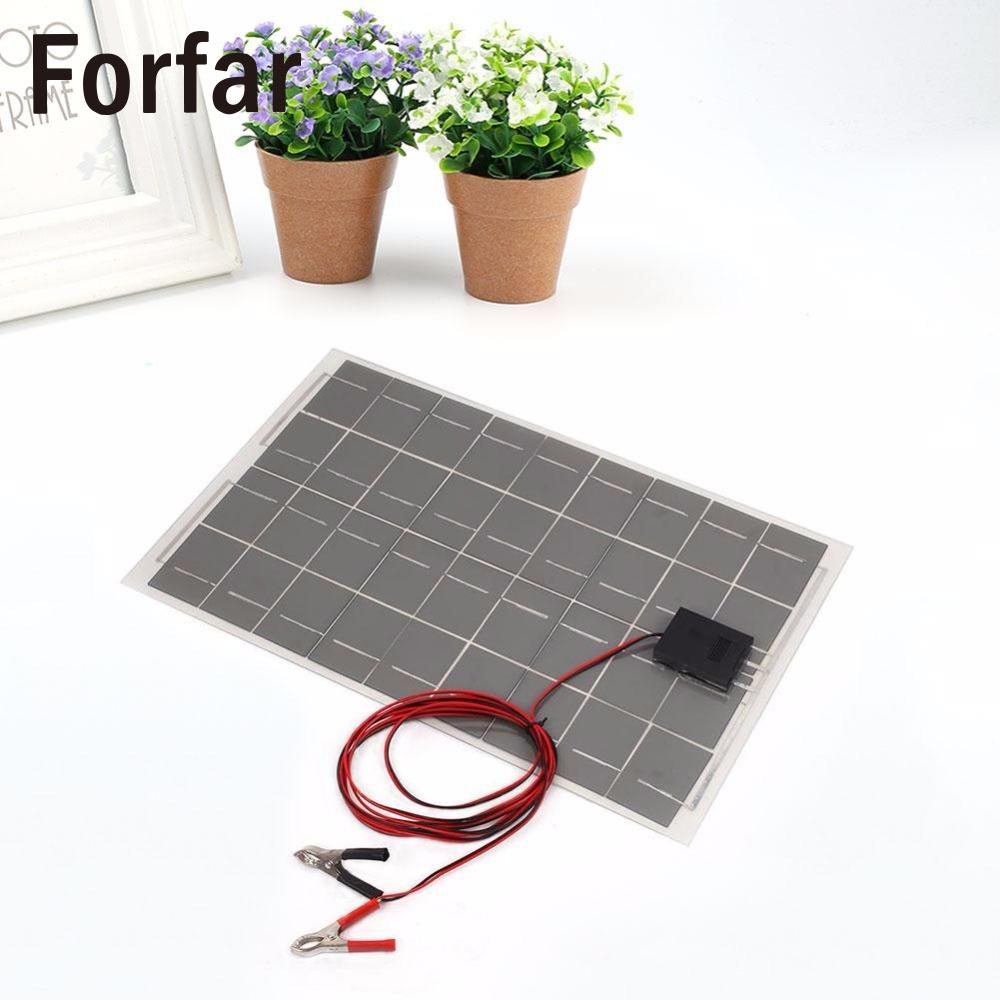 18V 30W  Portable Smart Solar Power Panel Car Boat Battery Bank Charger with Alligator Clip Outdoor Camping Tool