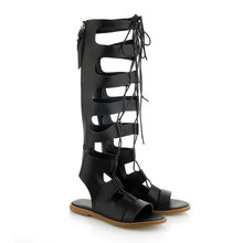 NAYIDUYUN 2017 Fashion Women Sandals Strappy Roman Gladiator Knee High Sandals Flats Summer Boots Party Shoes Plus size 36-43 стоимость