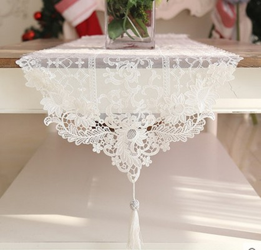 Beautiful Luxurious Wedding Lace Table Runner Classical Crystal Pendant Coffee Table Cover For Hotel Or Home