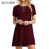 BEFORW Summer Solid Color Short Sleeves Dress Vintage Leisure Women Dress Fashion Simple Dresses Comfortable Fabric