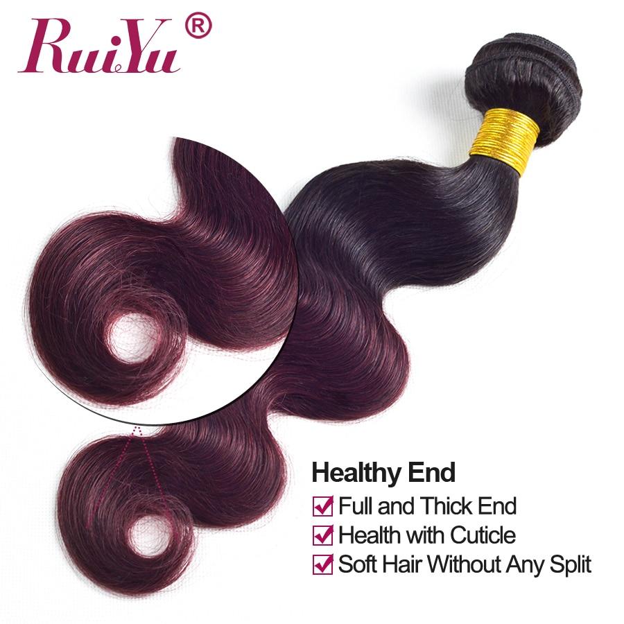 Flokët RUIYU Ombre Paketat e Flokëve Brazilianë të Valës së - Flokët e njeriut (të zeza) - Foto 5