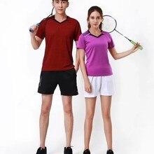 Футболка унисекс теннис одежда рубашка+ шорты Настольный Теннис Спортивная одежда дышащая быстросохнущая Футболки wicking Костюмы L2067YPC