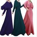 Té de la burbuja 2017 Mujeres Musulmanes Vestido de Domingo Mejores Vestidos Abaya Islámico de Malasia de Moda Pure Color Chal de Manga Larga Túnica de Gala