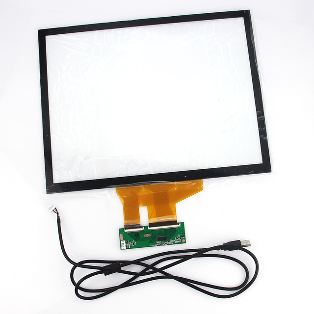 New 15''  4:3 Projected Capacitive Touch Screen Panel 10 Points+USB Controller Win 7,8 USB For Industrial Touch Screen Monitor