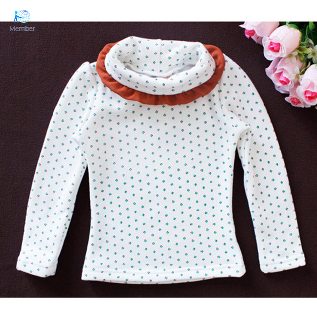 Baby girl clothes Kids elsa T-shirt Girls floral shirt Plus velvet high collar shirt chemise enfant shirt blouse kids 30#