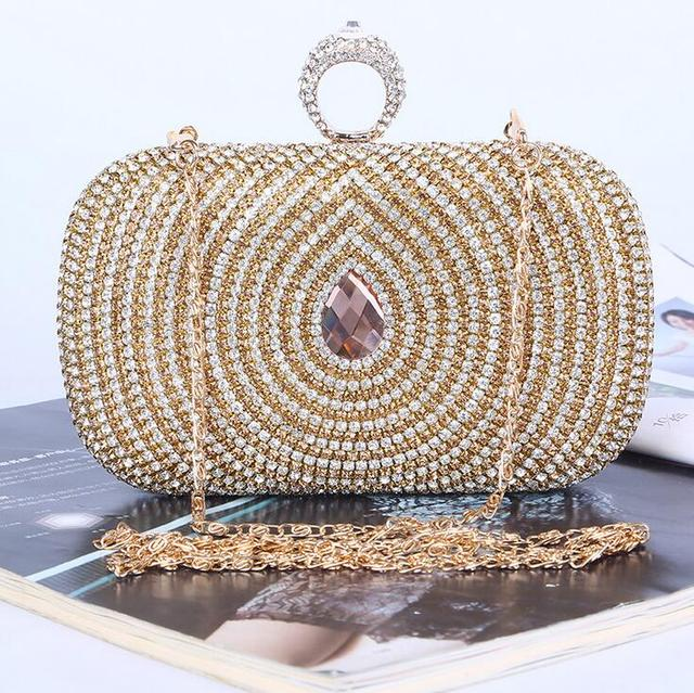 Luxury Golden Diamonds Rhinestone Evening bags Chain Shoulder bags Day Clutches Bride Evening bags Purse Party bags