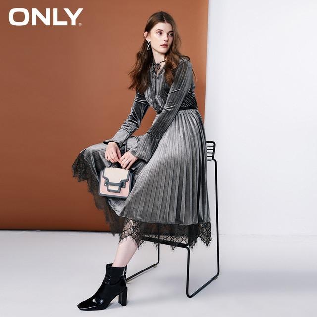 ONLY Women's Lace Splice Velvet Dress elegant Lace-up neckline Lace hemline|118361533